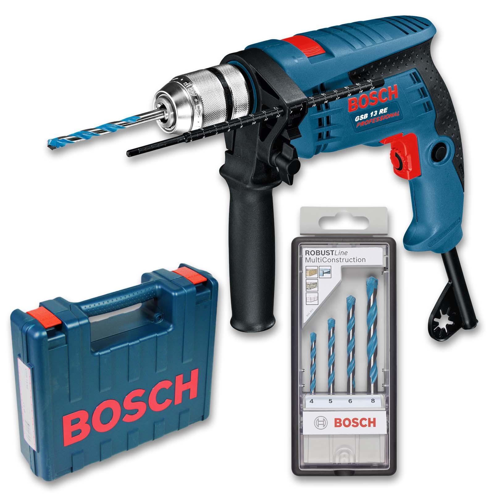 Fliesen Fischer Lauf: Bosch GSB 13 RE Schlag Bohrmaschine Im Koffer + Bohrerset